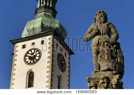 Knight Ronald On Fountain Before Church In Tabor, Czech Republic