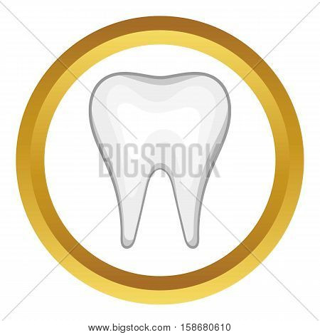 White tooth vector icon in golden circle, cartoon style isolated on white background