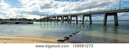 Concrete bridge connects the mainland town San Remo with Philip island in Australia