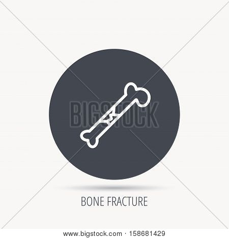 Bone fracture icon. Traumatology sign. Human bone break. Round web button with flat icon. Vector