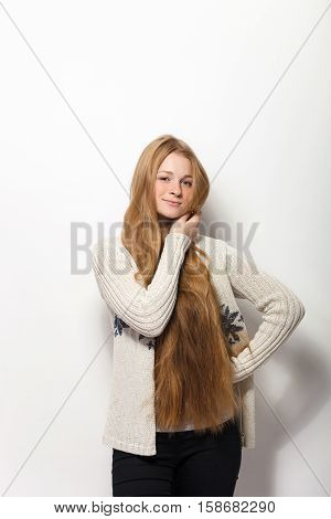 Human Pose Expressions And Emotions. Portrait Of Young Adorable Redhead Woman Showing Her Gorgeous E
