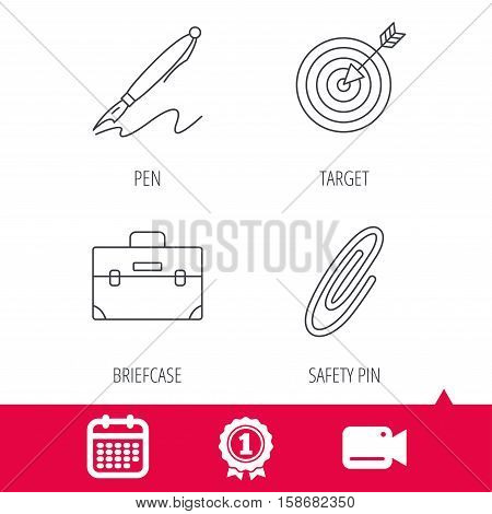 Achievement and video cam signs. Briefcase, safety pin and target icons. Pen linear sign. Calendar icon. Vector