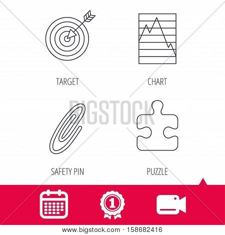 Achievement and video cam signs. Puzzle, graph charts and target icons. Safety pin linear sign. Calendar icon. Vector