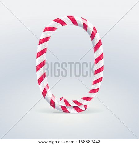 Mint hard candy cane vector number collection striped in Christmas colours. Figure 0 Vector illustration in cartoon style isolated from the background EPS 10