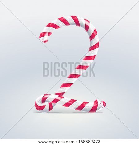 Mint hard candy cane vector number collection striped in Christmas colours. Figure 2 Vector illustration in cartoon style isolated from the background EPS 10