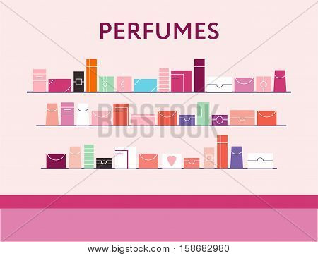 Department Store With The Shelves Full Of Perfumes.