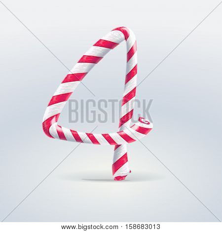 Mint hard candy cane vector number collection striped in Christmas colours. Figure 4 Vector illustration in cartoon style isolated from the background EPS 10