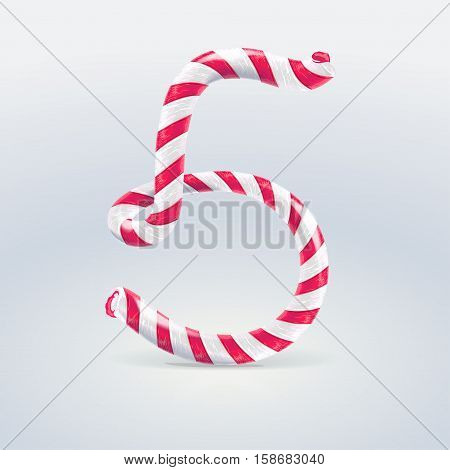 Mint hard candy cane vector number collection striped in Christmas colours. Figure 5 Vector illustration in cartoon style isolated from the background EPS 10