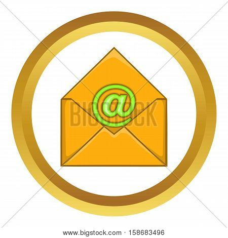 Email vector icon in golden circle, cartoon style isolated on white background