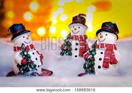 Three Smiling Snowmen In Snow, Happy New Year 2017, Christmas