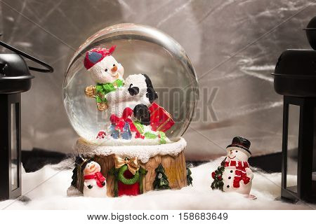 Snowman In Snowdome, Christmas Decoration At Home, Happy New Year 2017, Closeup