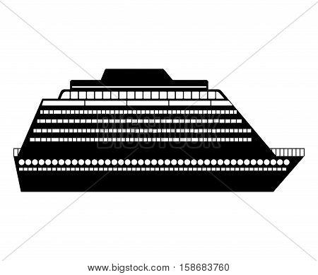 black silhouette big yacht design flat icon vector illustration