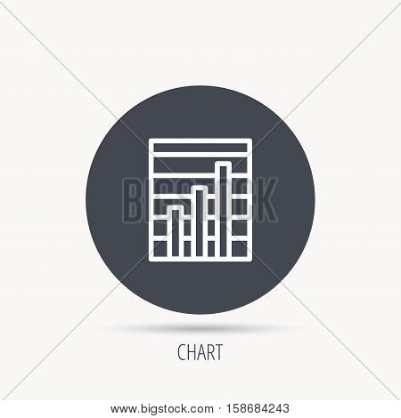 Chart icon. Graph diagram sign. Demand growth symbol. Round web button with flat icon. Vector