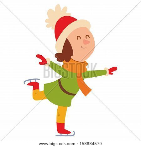 Christmas kid playing winter games. Skating, girl dresses up Christmas tree. Cartoon New Year winter holidays background.