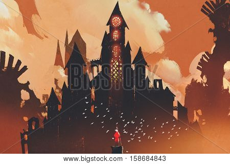 red knight standing in front of fantasy castle in the background of orange clouds, illustration painting