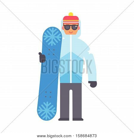 Skiing man christmas winter vacation. Happy travel snowboard boy. Active sport people on winter vacation character flat vector illustration. Ski tourism holiday character.