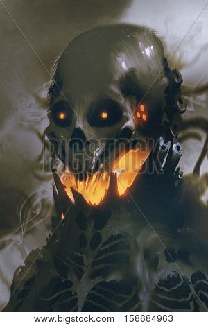 sci-fi character of alien skull on dark background, illustration painting