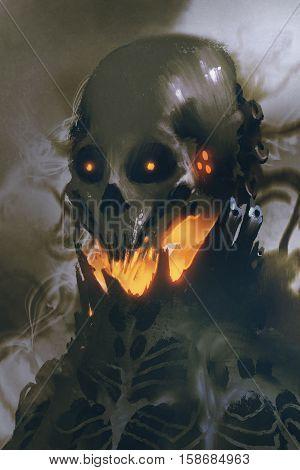 sci-fi character of alien skull on dark background, illustration painting