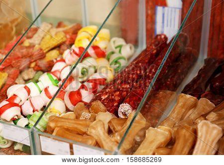 Various dog food in pet shop