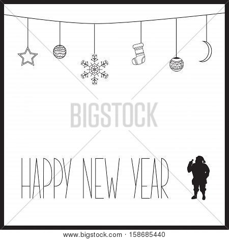 White New Year Card With Black Text And Silhouette Of Santa Claus. Vector Illustration
