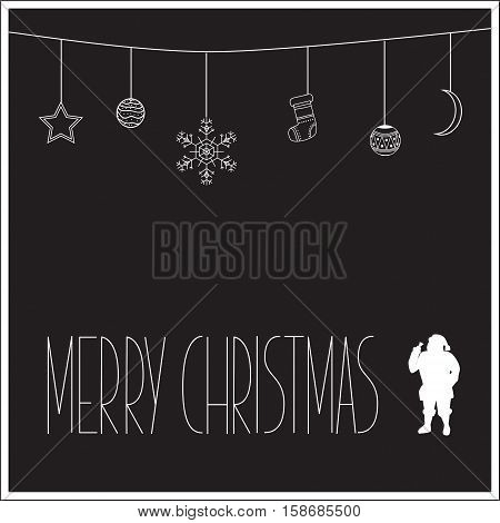 Black Christmas Card With White Silhouette Of Santa Claus And Text. Vector Illustration