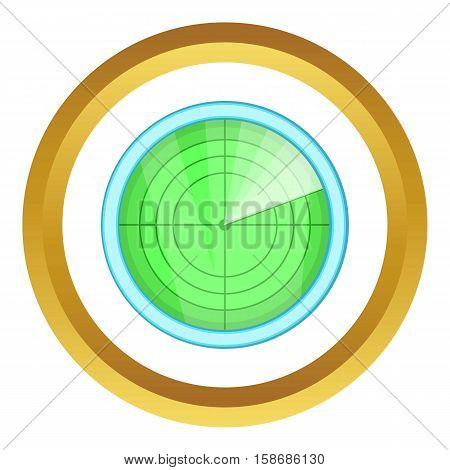 Radar vector icon in golden circle, cartoon style isolated on white background