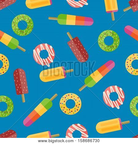 Cute sweet colorful donut seamless pattern. Chocolate or cream yummy cookie donuts food. Candy decoration color cake isolated fast food seamless pattern