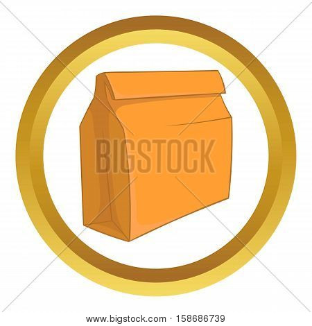 Paper bag with lunch vector icon in golden circle, cartoon style isolated on white background