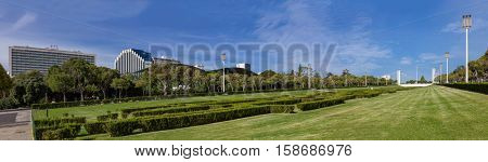 Lisbon, Portugal - October 19, 2016: Eduardo VII Park in Lisbon, Portugal. The largest park in the city center. Ritz Four Seasons and Intercontinental Hotels.