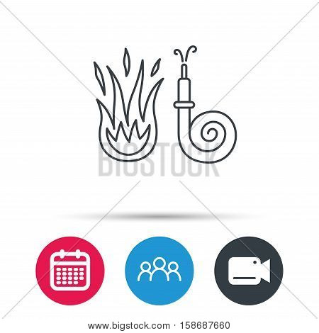 Fire hose reel icon. Fire station sign. Group of people, video cam and calendar icons. Vector