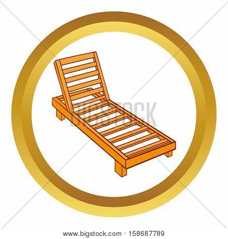 Wooden chaise lounge vector icon in golden circle, cartoon style isolated on white background