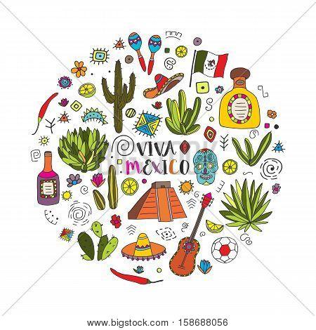 Doodles circle set of Mexico - Temple of Kukulkan, tequila, sambrero, agave, maracas and other culture elements. Vector illustration.