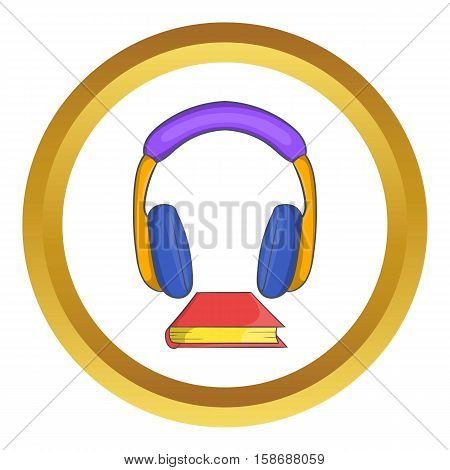 Audio book vector icon in golden circle, cartoon style isolated on white background