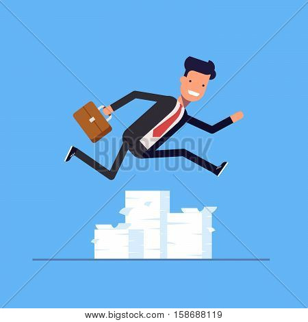 Businessman or manager jumping over obstacles. Large stack of documents. Man rushing to work. Vector, illustration EPS10
