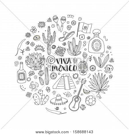 Doodles set of Mexico - Temple of Kukulkan, tequila, sambrero, agave, maracas and other culture elements. Vector illustration.