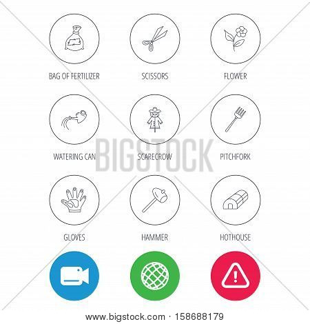 Hammer, hothouse and watering can icons. Bag of fertilizer, scissors and flower linear signs. Hammer, scarecrow and pitchfork flat line icons. Video cam, hazard attention and internet globe icons