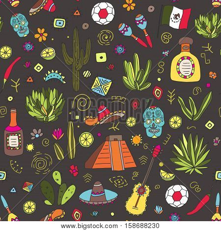 Doodles seamless pattern of Mexico - Temple of Kukulkan, tequila, sambrero, agave, maracas and other culture elements. Vector illustration.