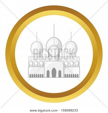 Mosque in UAE vector icon in golden circle, cartoon style isolated on white background