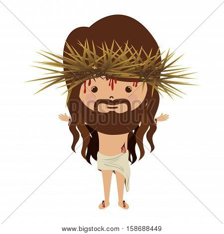 avatar jesus christ with crown thorns and bood vector illustration