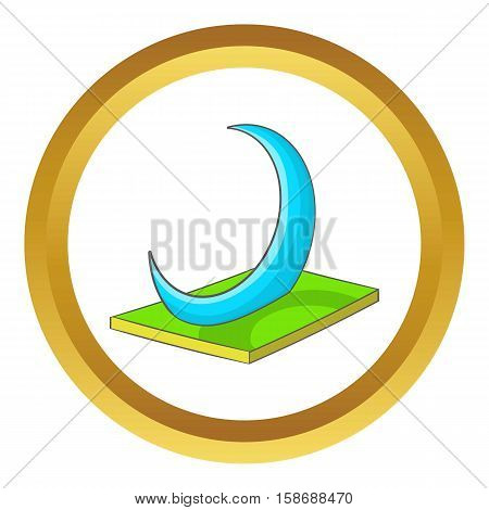 Skyscraper-Crescent in UAE vector icon in golden circle, cartoon style isolated on white background