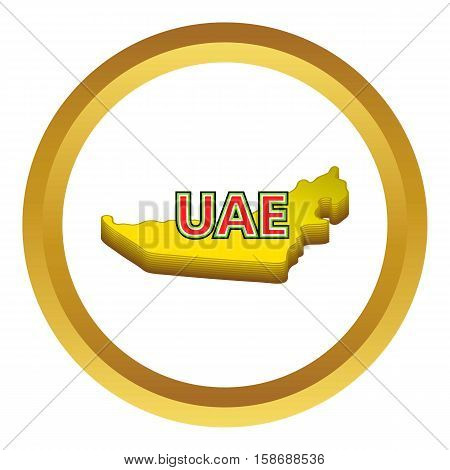 Map of UAE vector icon in golden circle, cartoon style isolated on white background