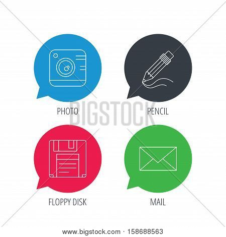Colored speech bubbles. Photo camera, pencil and mail icons. Floppy disk linear sign. Flat web buttons with linear icons. Vector