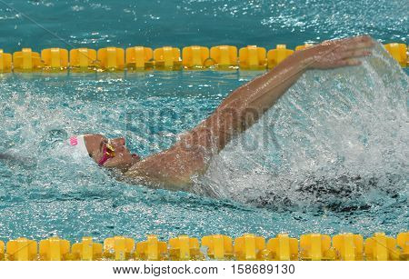 Hong Kong China - Oct 29 2016. Australian olympian and world champion swimmer Emily SEEBOHM (AUS) swimming backstroke. FINA Swimming World Cup Preliminary Heats Victoria Park Swimming Pool.