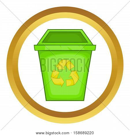 Eco dustbin vector icon in golden circle, cartoon style isolated on white background