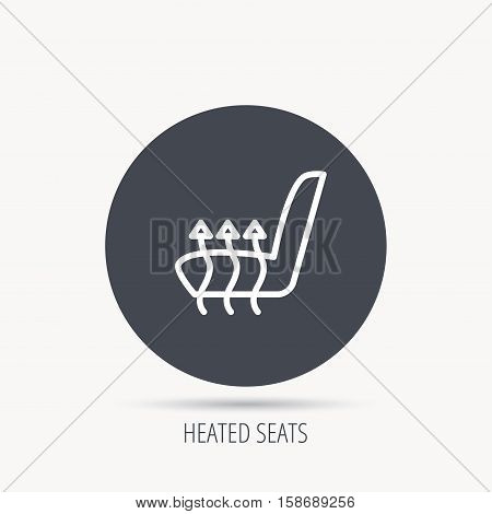 Heated seat icon. Warm autoarmchair sign. Round web button with flat icon. Vector