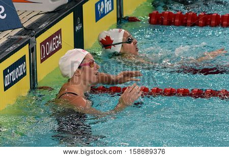 Hong Kong China - Oct 29 2016. Olympian and world champion swimmer Emily SEEBOHM (AUS) and HANUS Danielle (CAN) in the finish. FINA Swimming World Cup Preliminary Heat Victoria Park Swimming Pool.