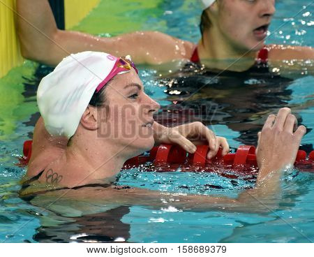 Hong Kong China - Oct 29 2016. Australian olympian and world champion swimmer Emily SEEBOHM (AUS) in the finish. FINA Swimming World Cup Preliminary Heats Victoria Park Swimming Pool.
