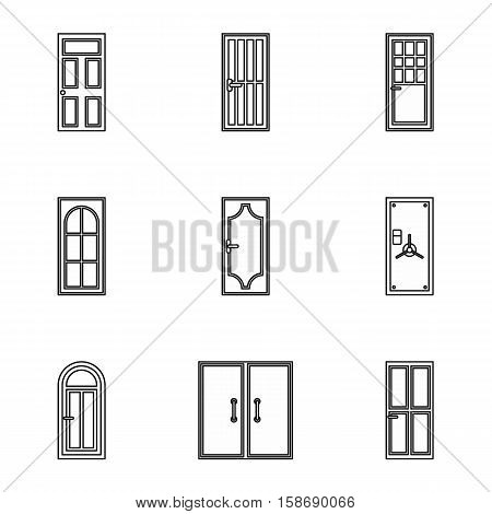 Exterior doors icons set. Outline illustration of 9 exterior doors vector icons for web