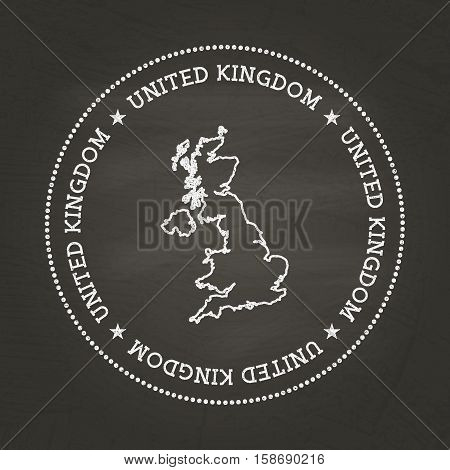 White Chalk Texture Vintage Seal With United Kingdom Of Great Britain And Northern Ireland Map On A