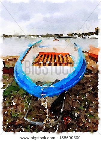 Digital watercolor painting of a colorful old blue boat tender on a trolley by a public slipway on a cloudy day with yachts in a marina in the background with space for text.